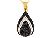 Black Spinel And White Zircon 18k Gold Over Silver Pendant With Chain 1.02ctw