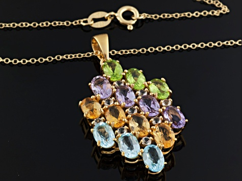 Multi-Gem 18k Gold Over Silver Pendant With Chain 5.77ctw