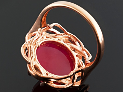 Pink Onyx 18k Rose Gold Over Sterling Silver Ring