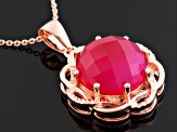 Pink Onyx 18k Rose Gold Over Sterling Silver Pendant With Chain