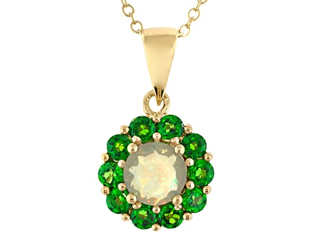 Ethiopian Opal 18k Gold Over Silver Pendant With Chain .94ctw