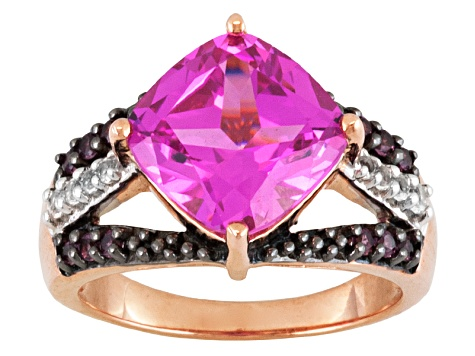 Pink Lab Created Sapphire, Rhodolite And White Topaz 18k Rose Gold Over Silver Ring 5.52ctw