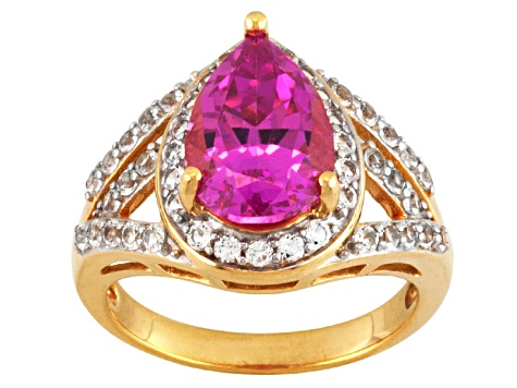 Pink Lab Created Sapphire And White Topaz 18k Gold Over Silver Ring 4.17ctw