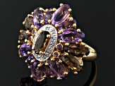 Orchid Brazilian Amethyst, Smoky Quartz And White Topaz 18k Gold Over Silver Ring 7.06ctw