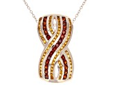 Red Garnet And Citrine 18k Rose Gold Over Silver Pendant With Chain 1.49ctw