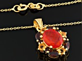 Red Ethiopian Opal 18k Gold Over Silver Pendant With Chain 2.46ctw