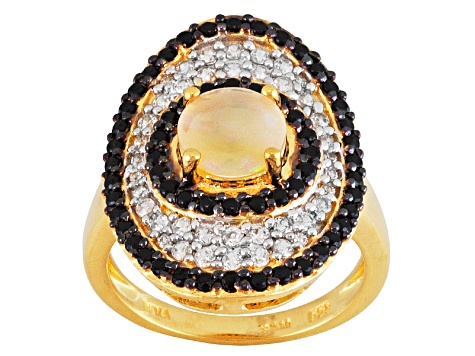 White Ethiopian, Black Spinel And White Zircon Opal 18k Gold Over Silver Ring 1.48ctw