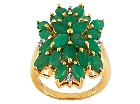 Green Emerald 18k Gold Over Silver Ring 4.16ctw