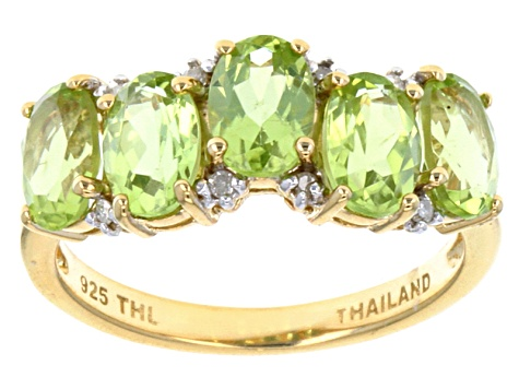 Green Peridot 18k Gold Over Silver Ring 2.11ctw