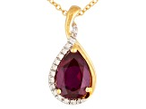 Red Lab Created Ruby And White Zircon 18k Gold Over Silver Pendant With Chain 2.15ctw