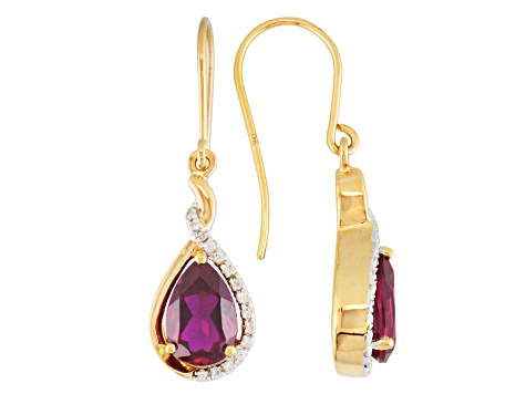 Red Lab Created Ruby 18k Gold Over Silver Earrings 3.26ctw