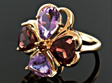 Orchid Brazilian Amethyst And Garnet 18k Gold Over Silver Ring 3.99ctw