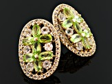 Green Peridot And White Topaz 18k Gold Over Silver Earrings 5.53ctw