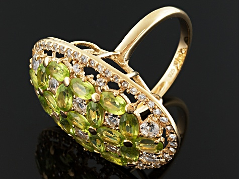 Green Peridot And White Topaz 18k Gold Over Silver Ring 5.74ctw