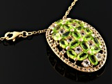Green Peridot 18k Gold Over Silver Pendant With Chain 5.83ctw
