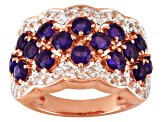 Purple African Amethyst And White Topaz 18k Rose Gold Over Silver Ring 2.03ctw