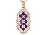 Purple African Amethyst And White Topaz 18k Rose Gold Over Silver Pendant With Chain 1.33ctw