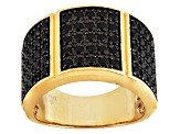 Black Spinel 18k Gold Over Silver Band Ring 1.04ctw