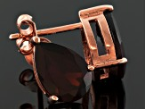 Red Garnet 18k Rose Gold Over Silver Stud Earrings 3.06ctw