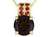 Brown Smoky Quartz And Zircon 18k Gold Over Silver Pendant With Chain 3.18ctw