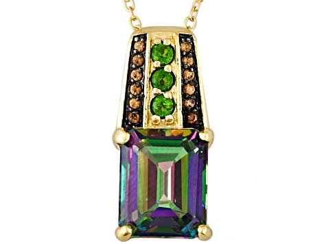 Topaz, Chrome Diopside And Imperial Zircon 18k Gold Over Silver Pendant With Chain 3.51ctw