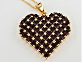 Heart Pendant Red Garnet 8.45ctw 18k Gold Over Silver