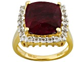 Red Corundum 18k Yellow Gold Over Silver Ring 8.30ctw