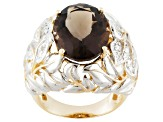 Brown Smoky Quartz 18k Gold Over Silver Ring 8.26ctw