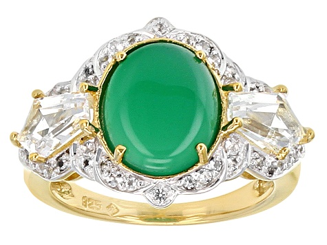 Green Onyx And White Topaz 18k Gold Over Silver Ring 4.83ctw