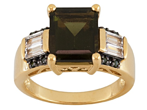 Green Moldavite, White Topaz And Green Diamond 18k Gold Over Silver Ring 2.80ctw
