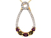 Green Moldavite, Rhodolite And White Topaz 18k Gold Over Silver Pendant/Slide With Chain .95ctw