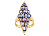 Blue Tanzanite 18k Gold Over Silver Ring 3.13ctw