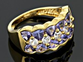 Blue Tanzanite And White Zircon 18k Gold Over Silver Ring 2.92ctw