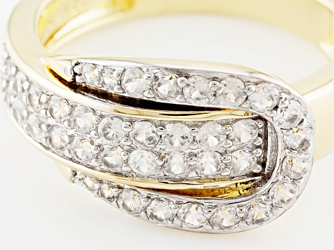 White Zircon 18k Gold Over Silver Ring 1.23ctw