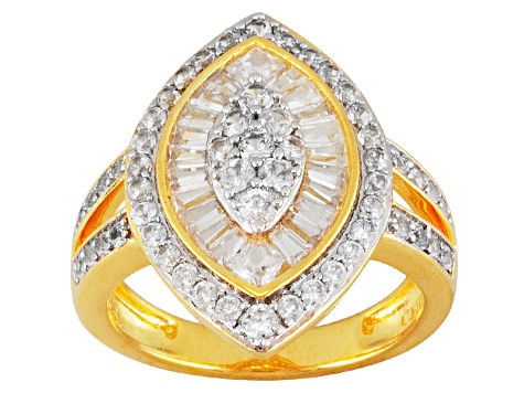 White Zircon 18k Gold Over Silver Ring 2.39ctw