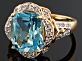 Sky Blue Topaz 18k Gold Over Silver Ring 5.29ctw