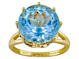 Sky Blue Topaz And Blue Diamond 18k Gold Over Silver Ring 9.43ctw