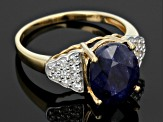 Blue Mahaleo® Sapphire 18k Gold Over Silver Ring 4.71ctw