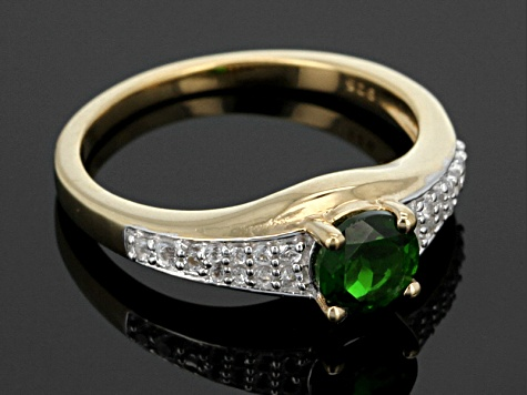 Green Chrome Diopside And White Topaz 18k Gold Over Silver Ring Set 1.00ctw