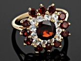 Red Garnet And White Topaz 18k Gold Over Silver Ring 4.30ctw