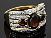 Red Garnet And White Topaz 18k Gold Over Silver Ring 2.49ctw