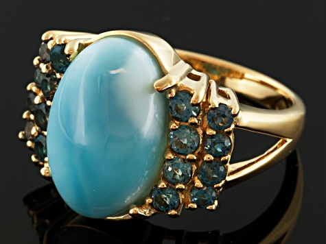 Blue Larimar And London Blue Topaz 18k Gold Over Silver Ring .86ctw