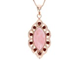 Pink Peruvian Opal 18k Rose Gold Over Silver Pendant With Chain .60ctw