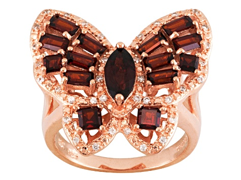 Red Garnet And White Zircon 18k Rose Gold Over Silver Butterfly Ring 2.80ctw
