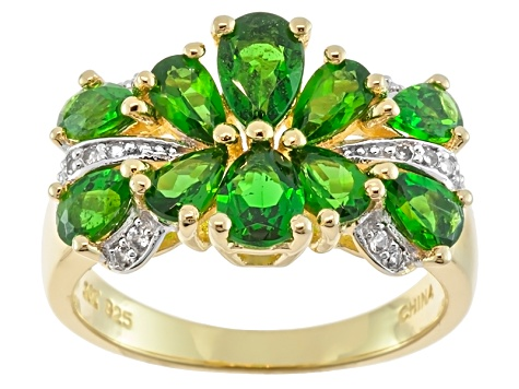 Green Chrome Diopside 18k Gold Over Silver Ring 2.43ctw