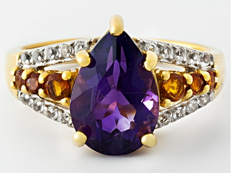 Purple African Amethyst 18k Gold Over Silver Ring 2.90ctw
