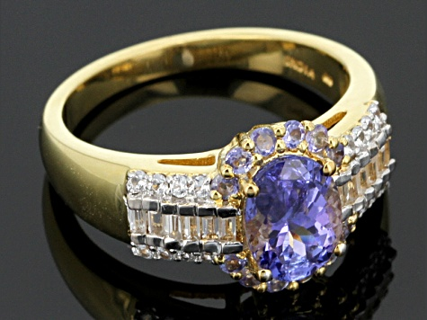 Tanzanite And White Zircon 18k Yellow Gold Over Sterling Silver Ring 1.79ctw