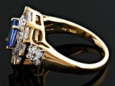 Blue Tanzanite And White Zircon 18k Gold Over Silver Ring 2.41ctw