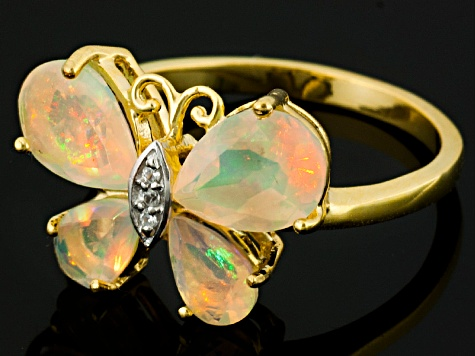 Ethiopian Opal 18k Gold Over Silver Butterfly Ring 1.54ctw