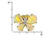 Ethiopian Opal And White Zircon 18k Gold Over Silver Butterfly Pendant With Chain 1.54ctw